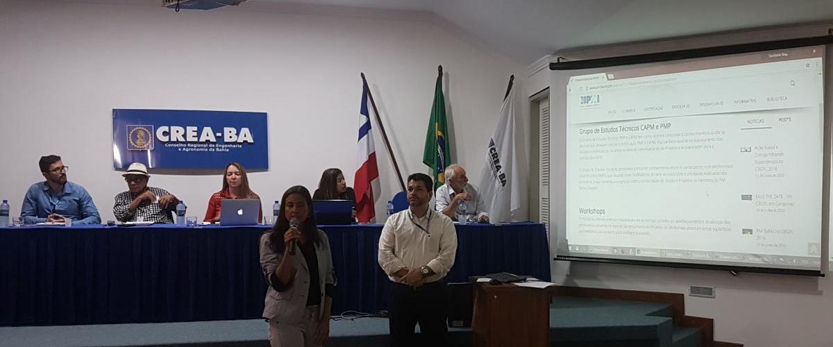 Palestra sobre o PMI Bahia Chapter é realizada no CREA-BA no dia 11/06
