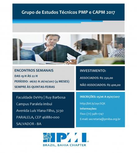 Inscrições abertas! Grupo de Estudos Técnicos PMP e CAPM 2017