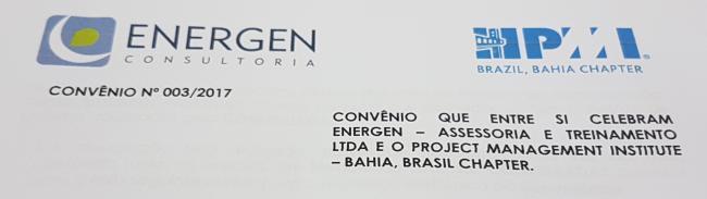 Celebrado convênio entre o PMI Bahia Chapter e a ENERGEN, afiliada da FGV